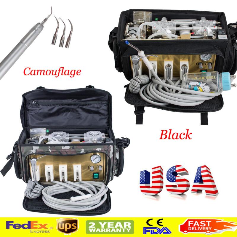 US Backpack Dental turbine Unit Bag Air Compressor FreeMaintanance + Air Scaler