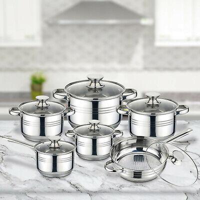 Batería cocina acero inoxidable set 12 piezas olla cazo tapa cristal lavavajilla