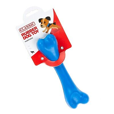Blue Large Solid Strong Tough Hard Rubber Dog Treat Bone Fetch Toys