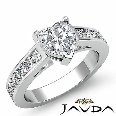 4 Prong Channel Setting Womens Heart Cut Diamond Engagement Ring GIA F VS2 1.5Ct