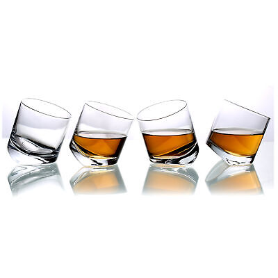 Tilting Whiskey Scotch Clear Glass,Tumbler Party Glasses, Set of 4 in Gift Box (4 Glass Gift Box)
