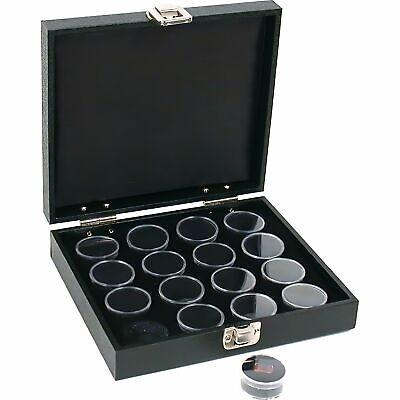 16 Gem Jars Black Tray Display Gemstone Travel Case