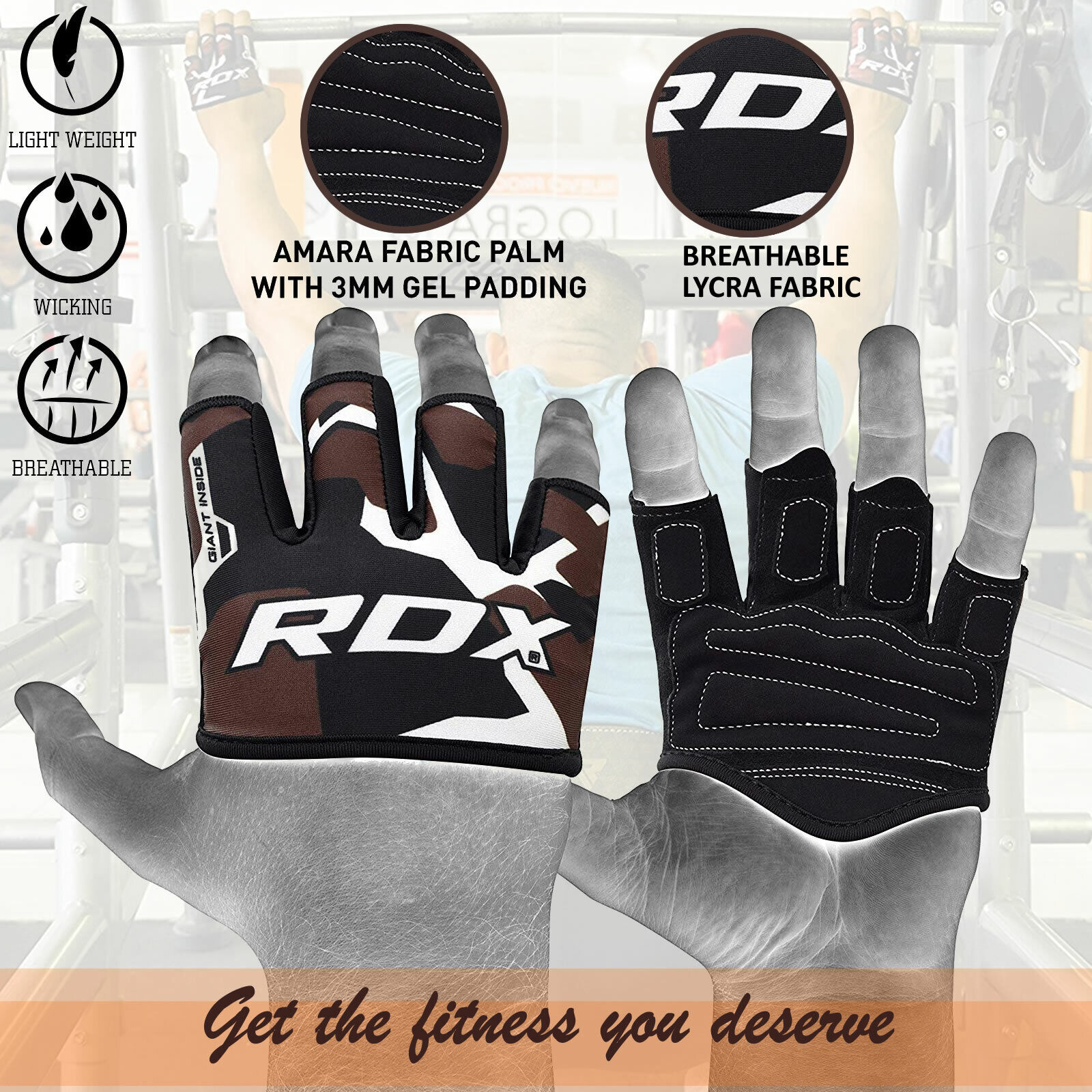 RDX Hand Grip Weight Lifting Pads Workout Gloves Gym Fitness