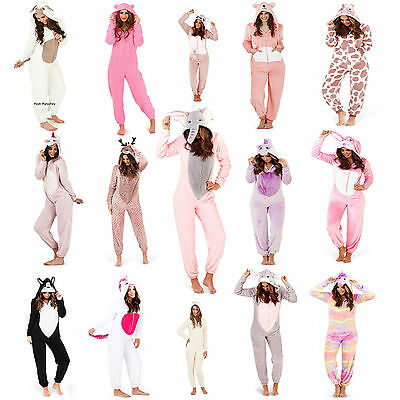 Ladies 1Onesie Hooded Cute Adult Animal Fleece Jumpsuit Pyjamas Nightwear Set