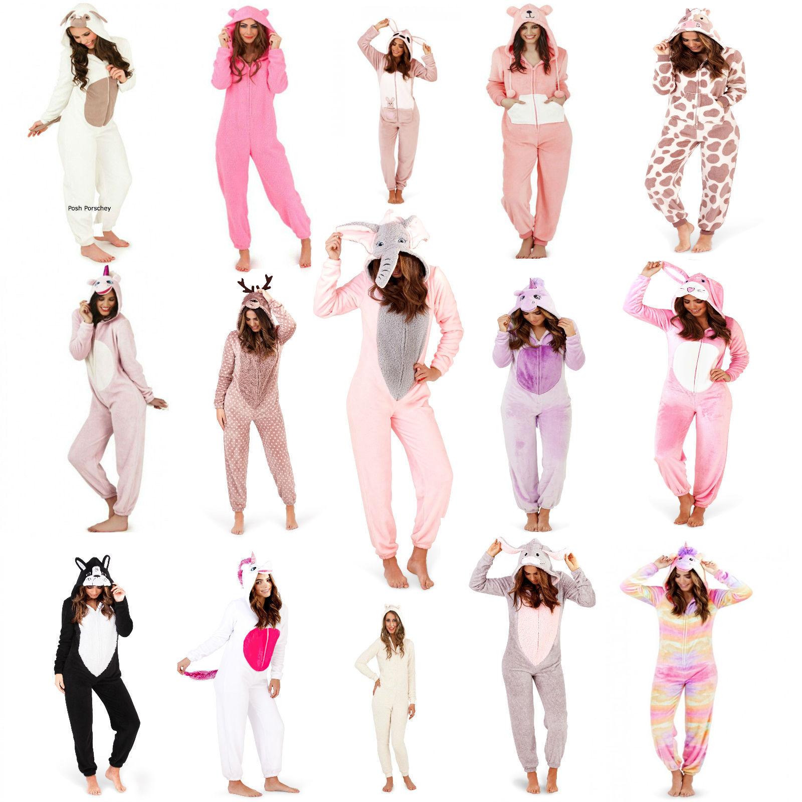 Ladies 1Onesie All in One 3D UNICORN Hooded Novelty Fleece Zip Pyjamas Onezee