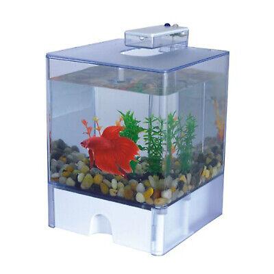 Portable Desktop Deco 3L Aquarium Fish Tank Betta Cube Bowl w/LED Light & Gravel
