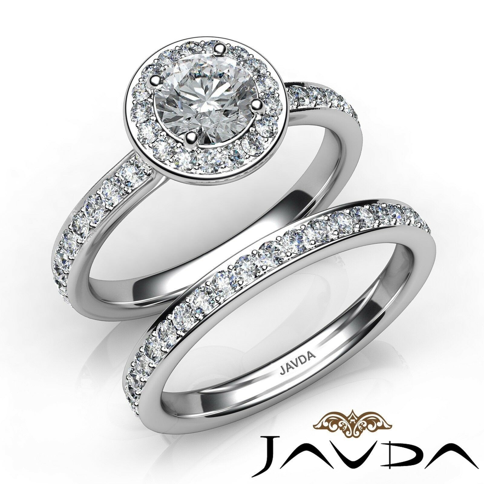 1.4ctw Halo Pave Set Wedding Round Diamond Engagement Ring GIA F-VVS2 White Gold