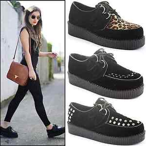 WOMENS-LADIES-FLAT-WEDGE-PLATFORM-LACE-UP-GOTH-PUNK-CREEPERS-SHOES-BOOTS-SIZE