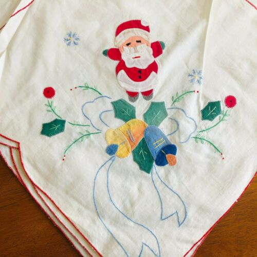 "Vtg Christmas table cloth cotton white patch work Santa bells cute 66"" x 90"""