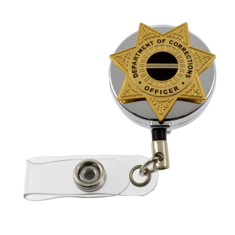 Corrections Officer 7 Point Star Badge Reel Retractable ID Card Holder Chrome