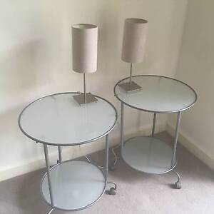 2 x glass and chrome round bedside tables Greenwich Lane Cove Area Preview