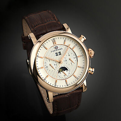 Mens Watches - Vintage Automatic Mechanical Watch Brown Leather Strap Mens Wrist Rose Gold Date