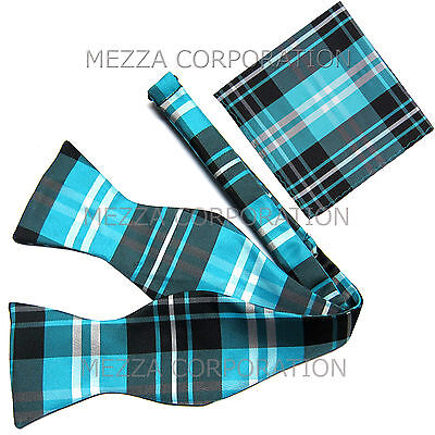 New men's self tie free style bow tie set plaid & checkers formal turquoise (Blue Freestyle Bow Tie)