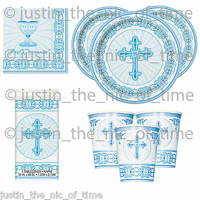 FIRST COMMUNION Holy Blue Cross Boy Party Tableware Supplies Plates Cups Napkins - First Communion Plates Napkins