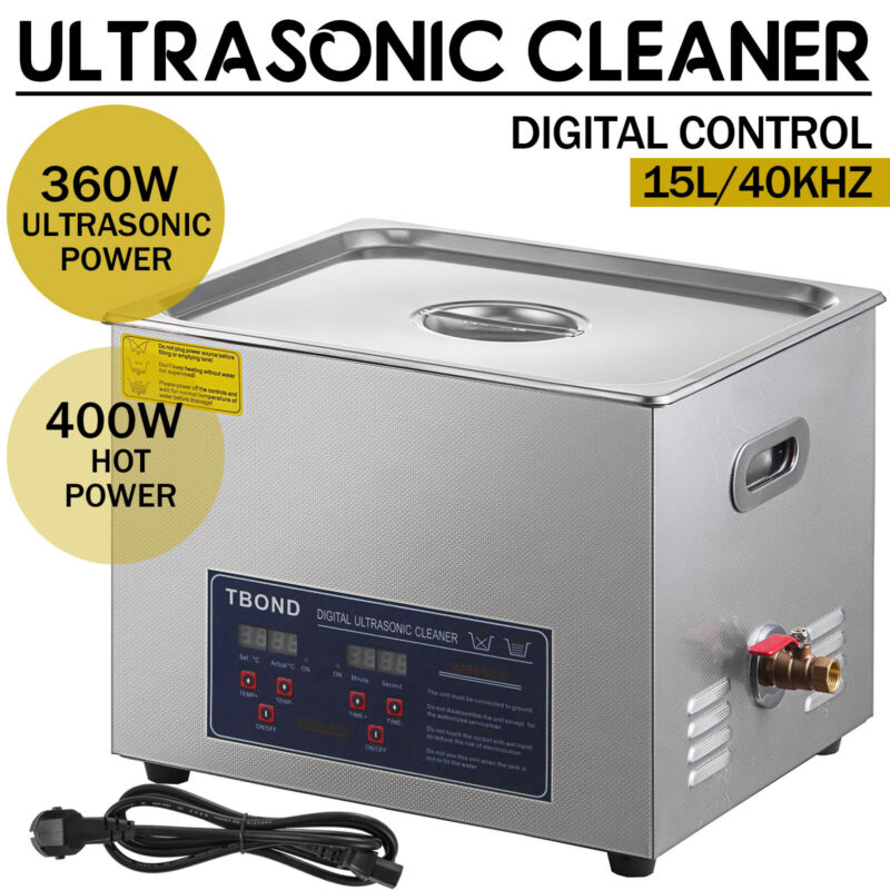 New 15L Ultrasonic Cleaner Stainless Steel Industry Heated Heater w/Timer