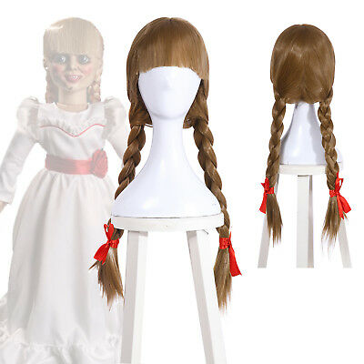 Halloween The Conjuring Annabelle Bangs Braid Ponytails Ash Blonde Cosplay Wig (Annabelle Halloween)