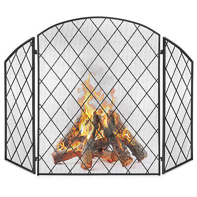 BCP 3-Panel 50x30in Wrought Iron Mesh Fireplace Screen Spark Guard