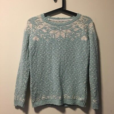 Girls Fat Face Fairisle Christmas Jumper Sweater Top Light Blue White Age 10 11