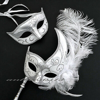 Venetian Silver White Classic Ball Mask & With Feather  Wedding Party Stick Mask - Mask With Stick