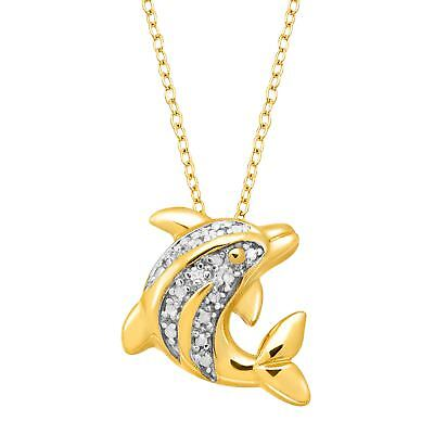 Dolphin Pendant with Diamond in 14K Gold-Plated Sterling (Gold Diamond Dolphin)