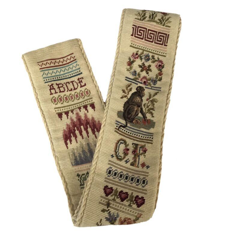 "Vintage Needlepoint Tan Bell Pull Monkey Alphabet Hearts Tapestry 66"" x 5.5"""