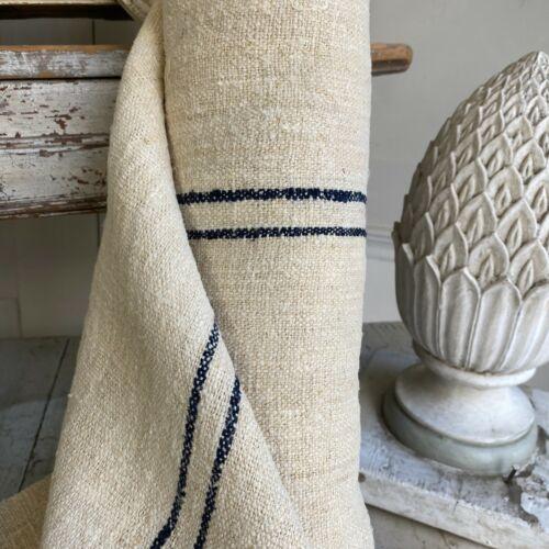 Antique grain sack fabric hemp linen bolt 7.4 yards blue black stripes