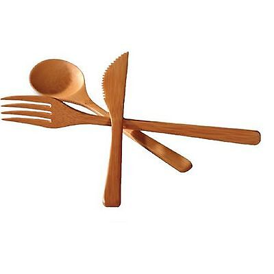 Bamboo Flatware Fork Knife and Spoon 3-Piece Set S-3785