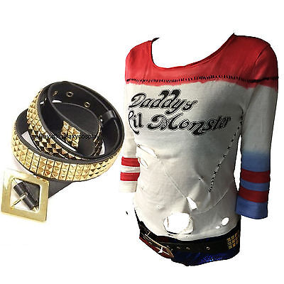 Harley Quinn T-shirt + BELT Suicide Squad Metal 3 Row Gold Studs Pyramid Costume
