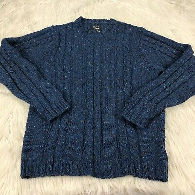 Howlin by Morrison Men's M Marled Cable-Knit Pullover Sweater 100% Wool Ireland