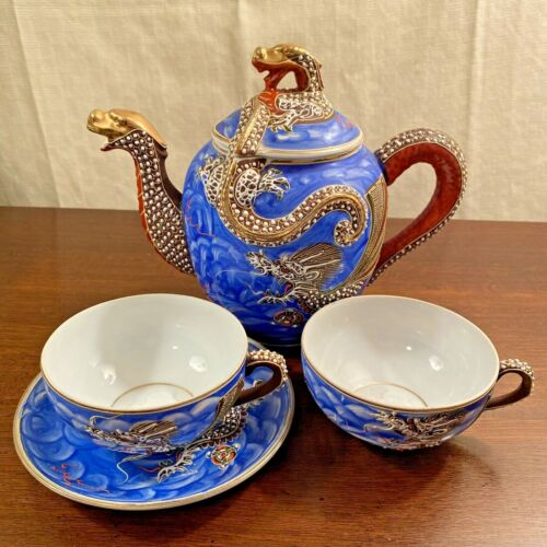 Vintage Japanese Dragonware Moriage TEA POT + 1 Saucer, 2 Geisha Lithopane Cups