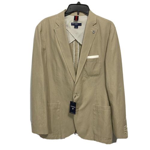 $275 CREMIEUX Mens Blazer Sport Coat Jacket Large Khaki Cotton Linen Clothing, Shoes & Accessories