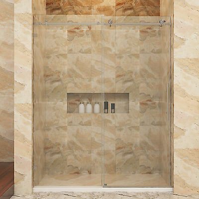 "Unclouded SHOWER Fully Frameless Sliding Shower Doors 60"" W x 79"" H Heavy Glass 3/8"""