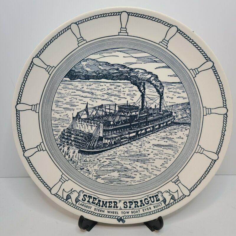 Vintage Steamer Sprague Souvenir Plate Stern Wheel Tow Boat Iowa Mississippi