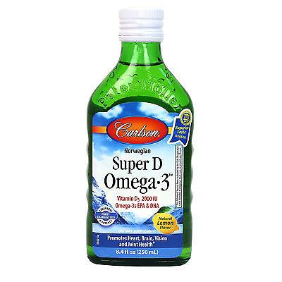 Carlson Super D + Omega-3: Norwegian Cod Liver Oil 250 ml - Great Lemon Taste! Carlson Norwegian Cod Liver Oil