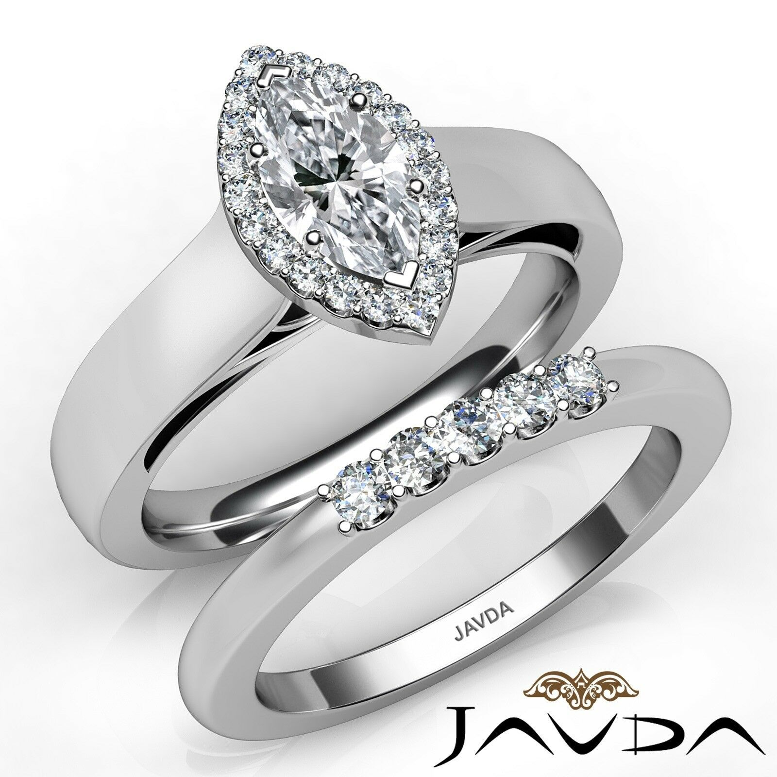 0.95ctw Cathedral Bridal Halo Marquise Diamond Engagement Ring GIA F-VS1 W Gold