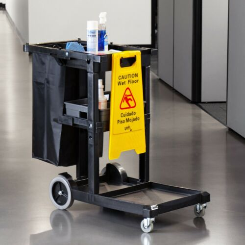 Black Janitorial Cleaning Cart / Janitor Cart with 3 Shelves and Vinyl Bag