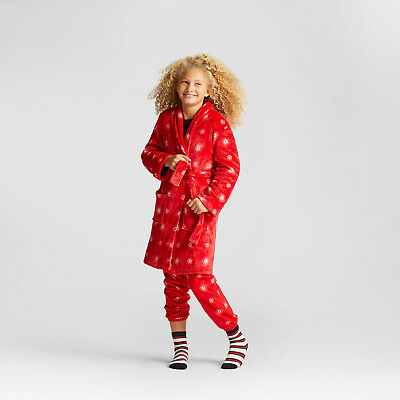 Girls Red Snowflake Holiday/Christmas Cat & Jack Fleece Robe W/ Pockets