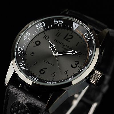 INFANTRY INFILTRATOR Mens Quartz Wrist Watch Analog Army Sport Black Leather US