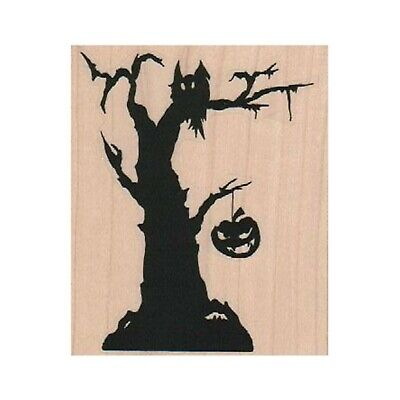 Halloween Tree Silhouette (NEW Halloween Tree Silhouette RUBBER STAMP, Halloween Stamp, Owl, Pumpkin,)