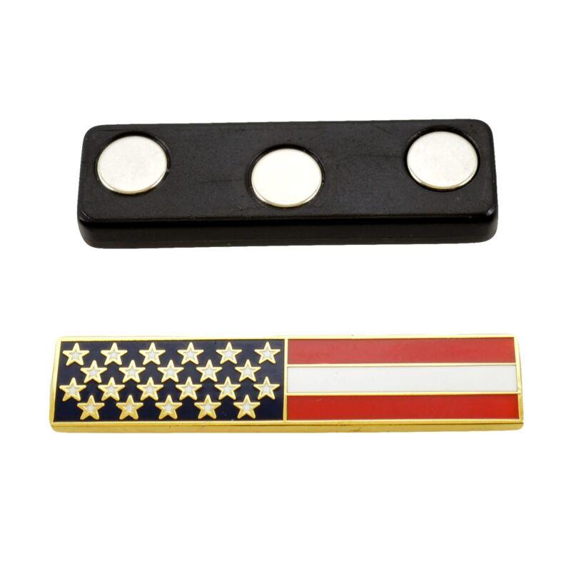 Magnetic US American Flag Police Citation Bar Pin Gold Uniform Award Merit