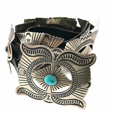 Native American Sterling Silver Turquoise Stamped Concho Leather Belt 42""