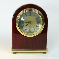 Mantle / Desk Quartz Clock Contemporary High Gloss Mahogany w/ Gold Trim Tested