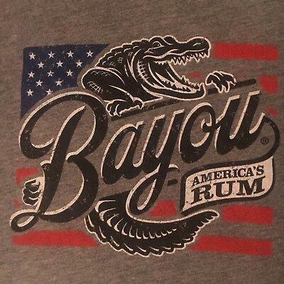 cool BAYOU RUM promo t shirt-ALLIGATOR louisiana-AMERICA'S RUM-looks UNUSED--(M)