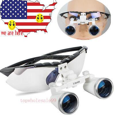 Us Stock Dental Surgical Medical Binocular Loupes Eyeglasses 3.5x 420mm