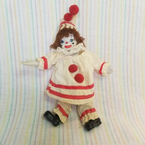 Vintage Porcelain Clown Doll Taiwan Bendable Arms Legs Red White Painted Face