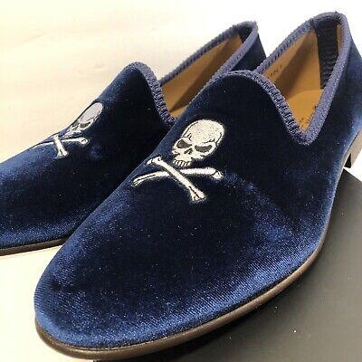 100% Authentic DEL TORO Velvet Skull & Bone Loafers Slip On Size 10 EUC Shoes