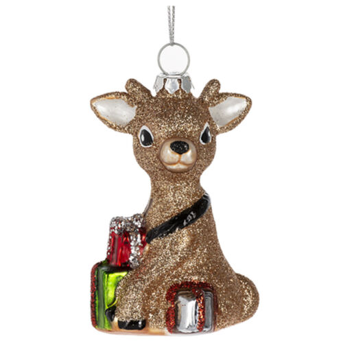 Glitter Reindeer w/ Gifts Christmas Tree Ornament Holiday Retro Vntg Style Decor