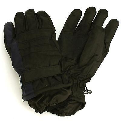 Men's Winter Thinsulate 3M Waterproof Hook&Loop Ski Wrist Cover Gloves Navy M/L