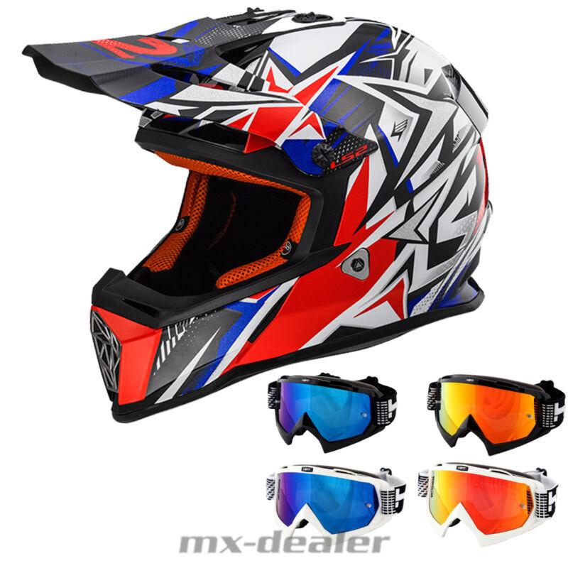 2019 LS2 MX 437 Fast Core gelb MX Motocross Crosshelm HP7 Brille verspiegelt