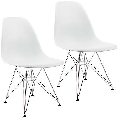 Set Of 2 Mid Century Eames Style Dsw Dining Side Chairs With Metal Legs White